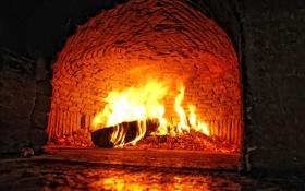 Обои огонь, пламя, камин, очаг, полено