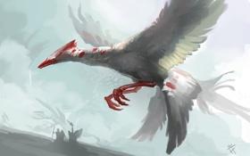 Картинка птица, арт, полёт