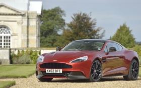 Обои Aston Martin, Красный, Астон Мартин, Vanquish, Передок, Спорткар, AM310