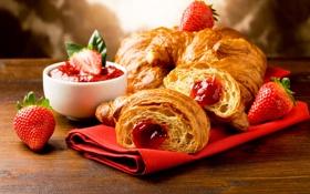 Обои клубника, jam, джем, варенье, круассаны, булочки, croissants