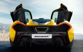 Картинка McLaren, карбон, black, yellow, выхлоп, задок, McLaren P1