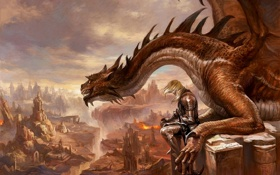 Картинка armor, dragon, lava, cliffs, reptile