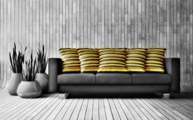 Обои диван, растения, подушки, горшки