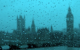 Обои капли, город, дождь, Westminster on a rainy day from the London eye