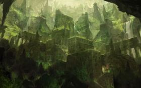 Обои трава, город, огни, мох, дома, пещера, мосты