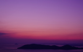Обои море, небо, облака, остров, вечер, зарево