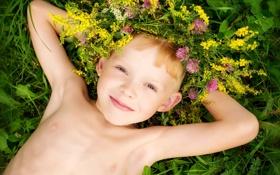 Обои лето, радость, счастье, цветы, детство, улыбка, портрет