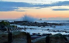Картинка море, волны, пейзаж, маяк