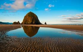 Картинка море, небо, скала, камни, отлив