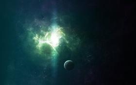 Обои space, light, nebula, stars, бесконечность