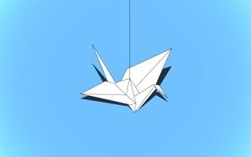Обои бумага, птица, минимализм, журавлик, оригами, crane, megafatboy