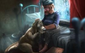 Обои собака, боцман, A dog and his Boatsman