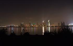 Обои ночь, город, река