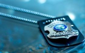 Обои полиция, жетон, цепочка, police