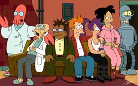 Картинка Futurama, Turanga Leela, Philip J. Fry, Profesor Hubert J. Farnsworth, Hermes Conrad, Amy Wong, Bender ...