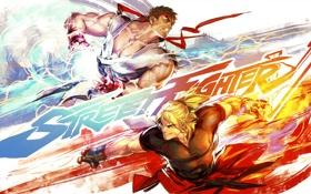 Картинка арт, бойцы, Street Fighter, Ryu, Ken Masters, capcom