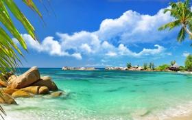 Картинка море, облака, тропики, камни, пальмы, побережье, домики