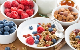 Картинка ягоды, малина, завтрак, молоко, миндаль, голубика, гранола