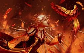 Картинка взгляд, девушка, фантастика, птица, волосы, крылья, руки