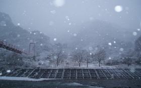 Обои снег, мост, Япония, Кита Адзуму, Префектура Факусима