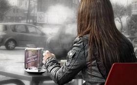 Картинка девушка, фото, дым, смог