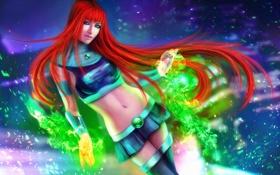 Обои волосы, девушка, рыжая, магия, Starfire, юбка, энергия