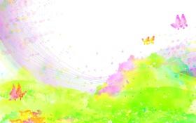 Обои поле, бабочки, цветы, брызги, краски, детские обои
