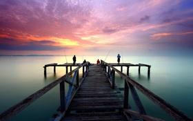 Картинка закат, мост, рыбаки