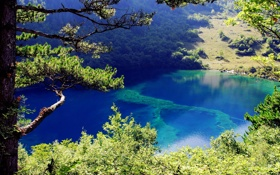 Картинка лес, горы, природа, озеро, парк, фото, Китай