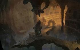 Картинка камни, арт, храм, пещера, руины, Age of Conan