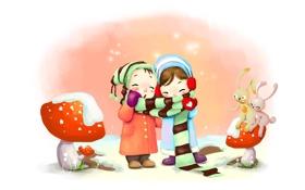 Картинка зима, снежинки, дети, рисунок, грибы, дыхание, шарфик