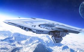 Картинка снег, горы, корабль, планета, арт, орбита