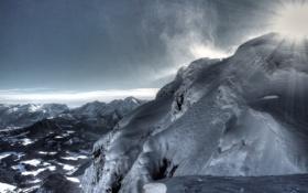Обои лед, солнце, снег, горы, ветер, льдины