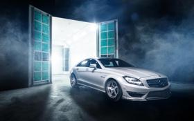 Обои белый, Mercedes-Benz, CLS, перед, white, front, мерседес бенц