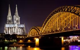 Обои небо, ночь, мост, city, город, lights, огни