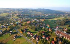 Обои Tatrzanska, город, сверху, дома, фото, Польша, Bukowina