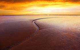 Картинка песок, пляж, закат, ручей, горизонт