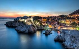 Обои море, пейзаж, закат, побережье, панорама, Хорватия, Croatia