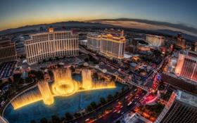 Обои Лас-Вегас, панорама, фонтан, отель, Las Vegas, Белладжио, Bellagio