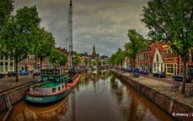 Картинка река, набережная, HDR, Нидерланды, Netherlands, машины, Гронинген
