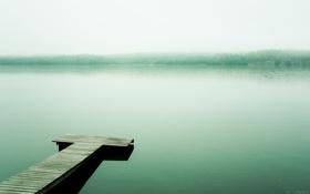 Картинка вода, деревья, туман, озеро, берег, причал