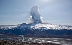 Картинка wallpaper, лава, дым, Эйяфьядлайёкюдль, обои, пепел, Eyjafjallajökull