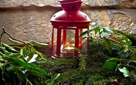 Обои зима, листья, ветки, красный, свеча, ель, фонарик