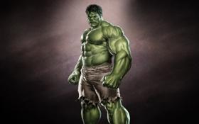 Картинка халк, монстр, зеленый, темноватый фон, hulk
