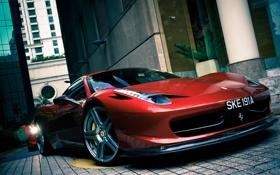 Обои красный, отражение, здания, red, переулок, ferrari, феррари