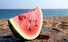 Обои пляж, берег, арбуз, кусок, ломтик, water melon