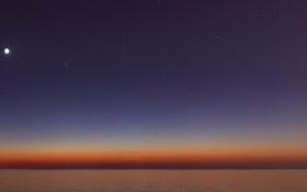 Обои звезды, океан, рассвет, Рыбы, Луна, горизонт, Кит