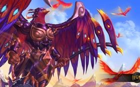 Обои птицы, крылья, броня, Heroes of Newerth, prophet, Dynasty Prophet