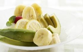 Картинка зелень, листья, фон, обои, лимон, еда, фрукты