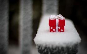 Обои зима, белый, снег, красный, фон, подарок, widescreen